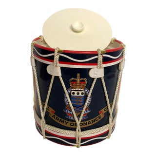 Vintage English Military Drum Shaped Ice Bucket by Regimental Replicas For Sale