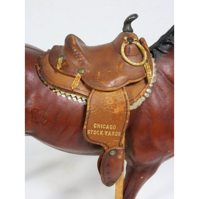 1930s Cast Iron Horse & Leather Saddle Doorstop For Sale - Image 10 of 12