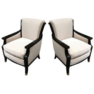 MaisonJansen Pair of Chicest 1940s Chairs Black Lacquered With Gold Bronze Sabot For Sale