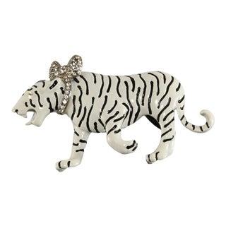 Kenneth Jay Lane White Tiger Brooch Pin Black Enameling Big Cat For Sale