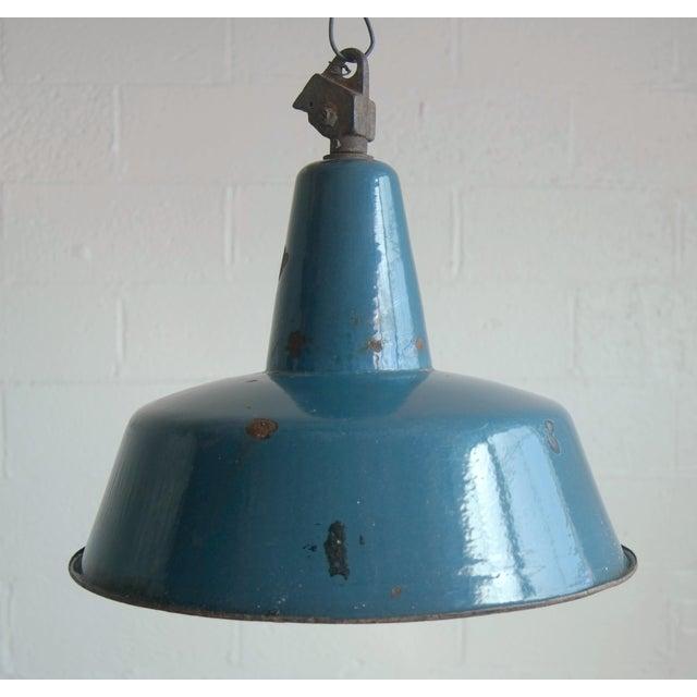 European Blue Industrial Lamp Shade - Image 4 of 7
