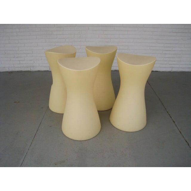 A set of 4 Skoop stools produced by Bonaldo, Italy designed by Karim Rashid. Molded polypropelene batch dyed plastic (hard...