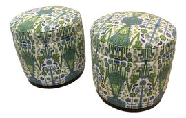 Image of Newly Made Green Ottomans and Footstools
