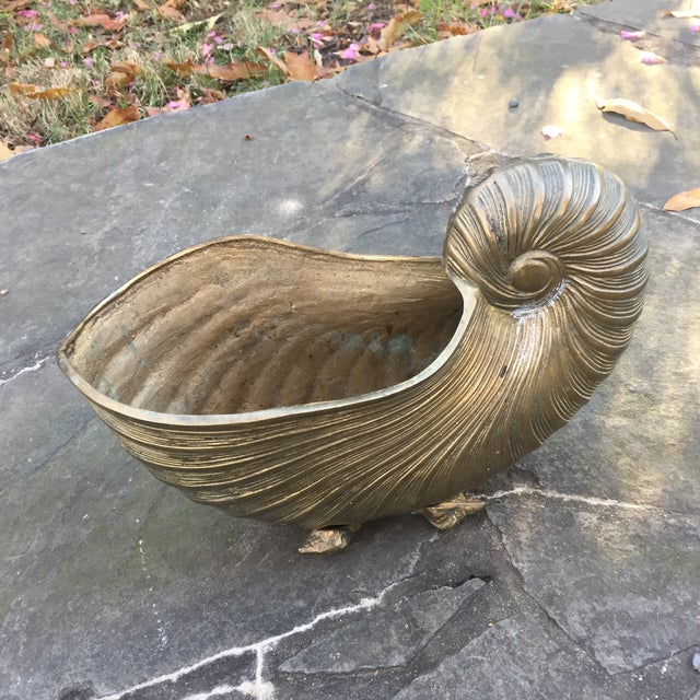 Vintage Brass Nautilus Shell Planter - Image 8 of 8