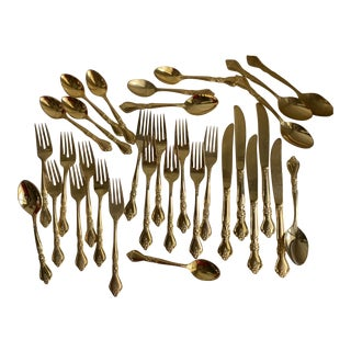 Midcentury Gold Plated Stainless Flatware, Set of 32 For Sale