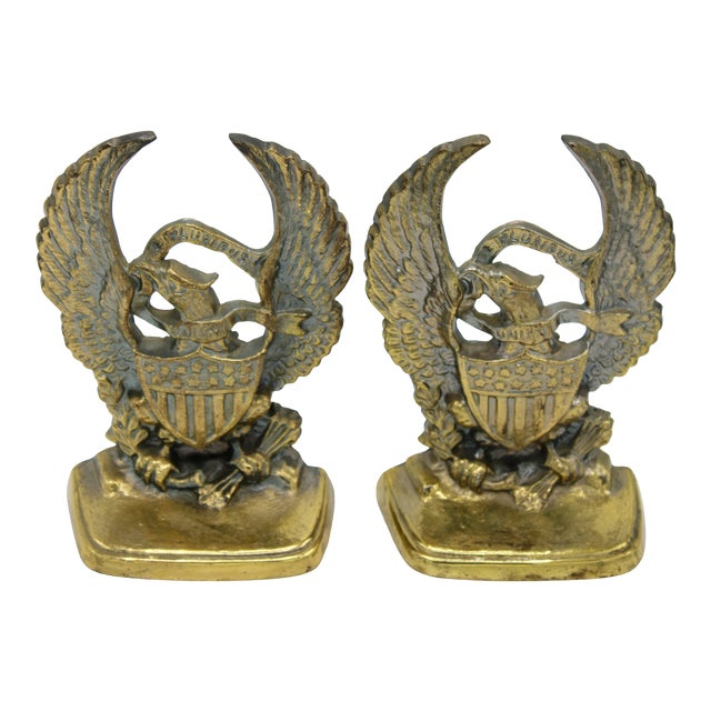 Vintage Golden Federal Eagle Cast Iron Bookends - a Pair For Sale