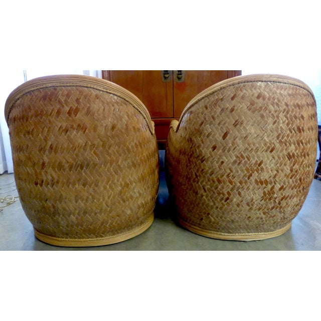 Mid Century Rattan Chairs & Ottoman - A Pair - Image 5 of 8