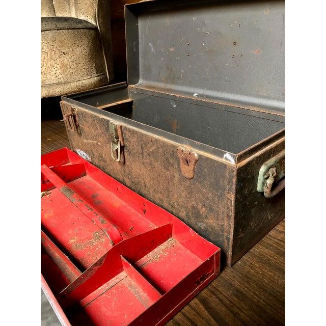 Brown Vintage Car-Racing Crew Rusted Metal Patina Tool Box For Sale - Image 8 of 11
