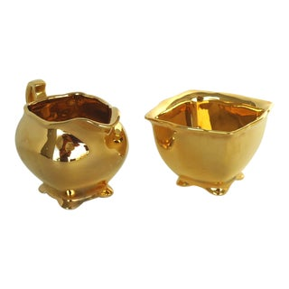 20th Century English Traditional Gold Royal Winton Creamer & Sugar Set - 2 Pieces For Sale