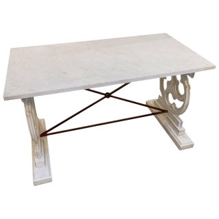 White Carrara Marble Console Table or Work Table. For Sale