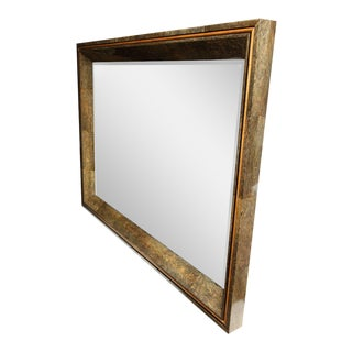 Enormous Coco Fiber Mirror with Orange Goatskin Insert For Sale