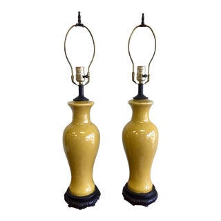 Vintage Mustard Reverse Painted Glass Table Lamps - a Pair For Sale