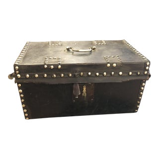 Leather and Brass Tact Document Box For Sale