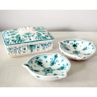 1960s Boho Chic Royal Delft Delvert Green Cigarette Box and Ashtrays - 3 Piece Set Preview