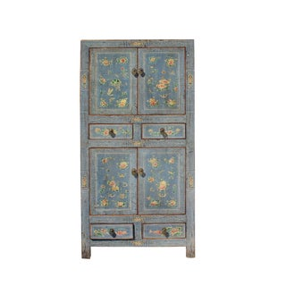 Chinese Oriental Gray Blue Flower Birds Graphic Slim Storage Cupboard Cabinet