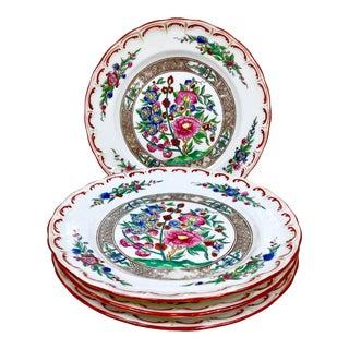 Antique Floral Plates-Set of 4 For Sale
