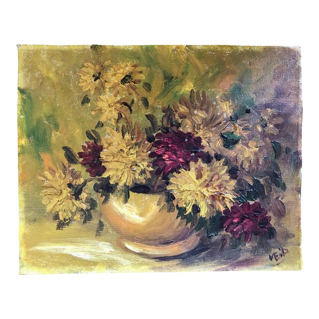 1940s Vintage Spider Mum Flowers in Vase Still Life Painting For Sale