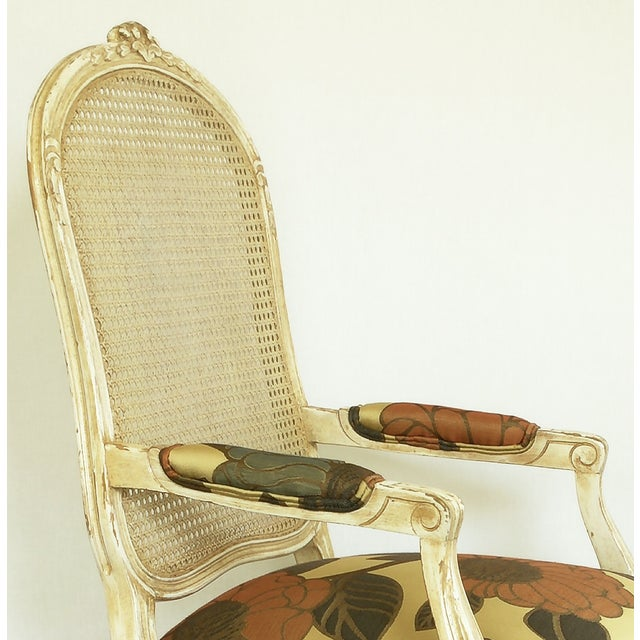 Vintage French Carved Cane Back Arm Chair For Sale In San Francisco - Image 6 of 6