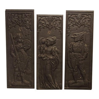 Set of 17th Century Cast Iron French Fireplace Plaques, Justice, Prudence, and Courage For Sale