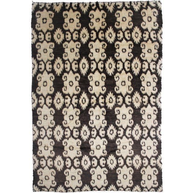 "Aara Rugs Inc. Hand Knotted Ikat Rug - 9'8"" X 7'4"" For Sale"