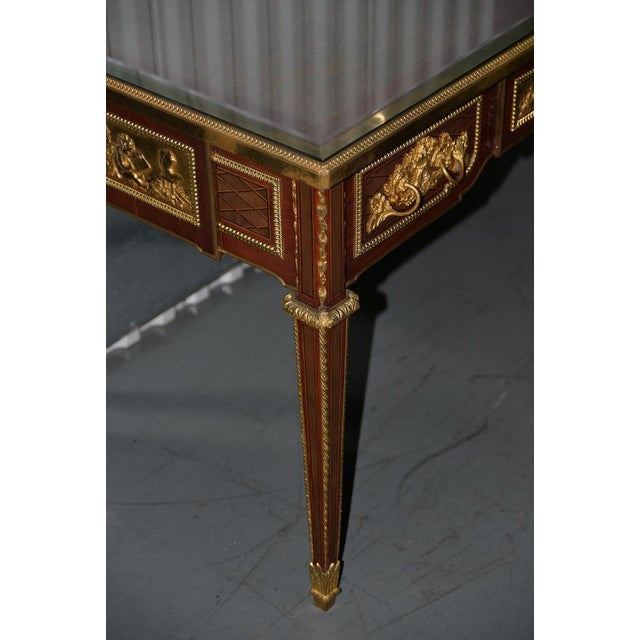 Gold 19th C. French Louis XVI Style Mahogany Bureau Plat W/ Trelliswork Marquetry For Sale - Image 8 of 13