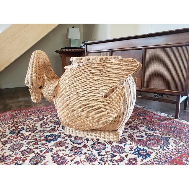 Wicker Vintage Wicker Swan Table/Stool For Sale - Image 7 of 8