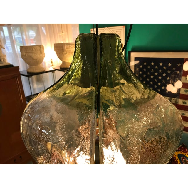 Mazzega Green Flower Chandelier, by Carlo Nason, Murano Glass 1970's For Sale In Miami - Image 6 of 8