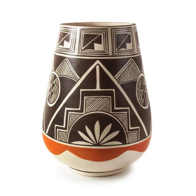 Vintage Stella Teller Southwestern Polychrome Mountain Design Painted Vase For Sale - Image 13 of 13