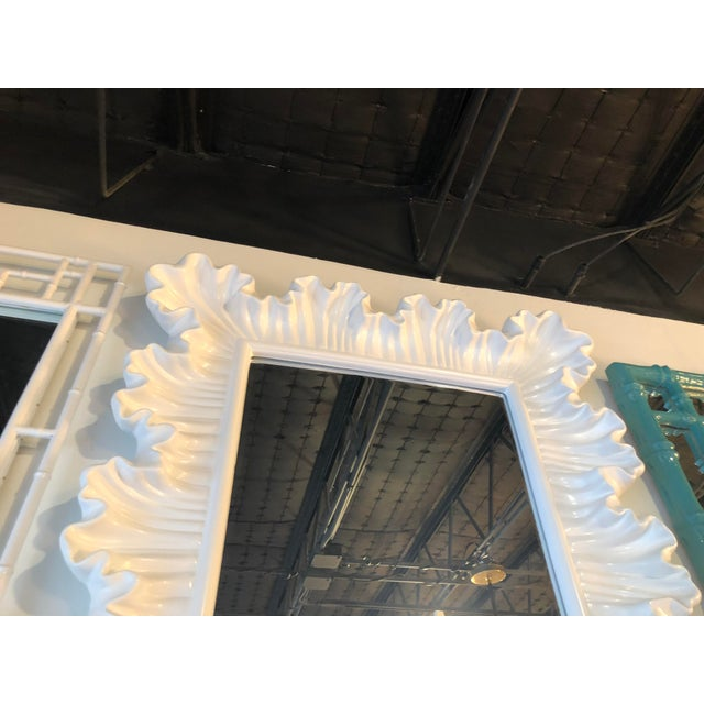 Vintage Hollywood Regency Lacquered White Ruffle Scalloped Wall Mirror For Sale - Image 4 of 12