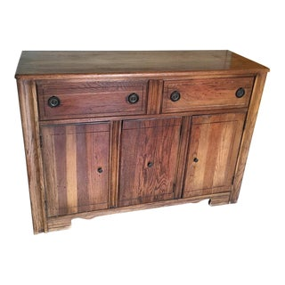 1900s American Classical Solid Oak Buffet For Sale
