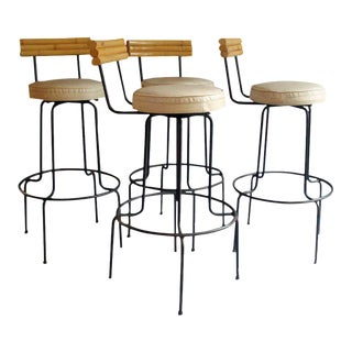 Four Wrought Iron Frame Bamboo With Upholstered Seat Bar Stools For Sale