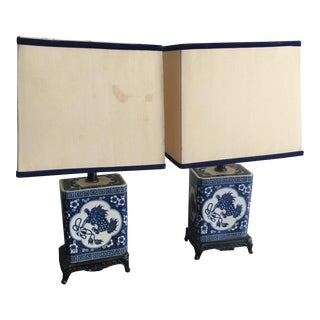 Blue and White Lamps - A Pair