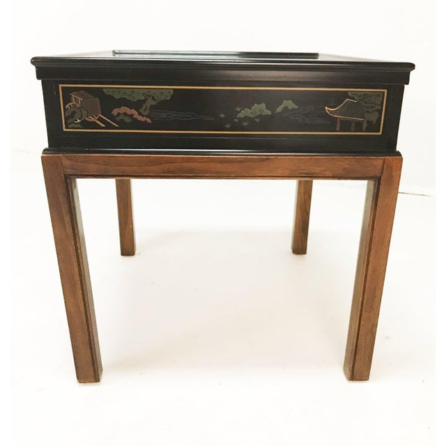 Black Drexel Heritage Chinoiserie Chippendale Side Table For Sale - Image 8 of 12