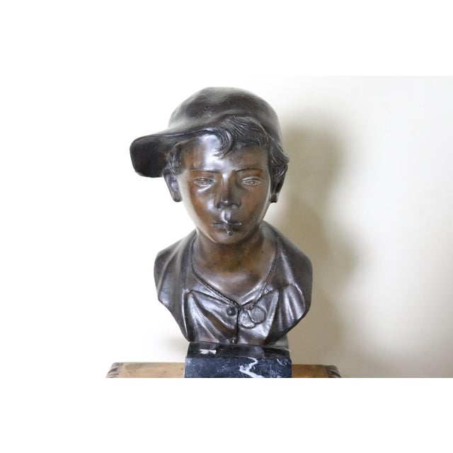 Figurative 19th Century Italian Sculpture in Bronze Young Boy Signed G. De Martino For Sale - Image 3 of 9