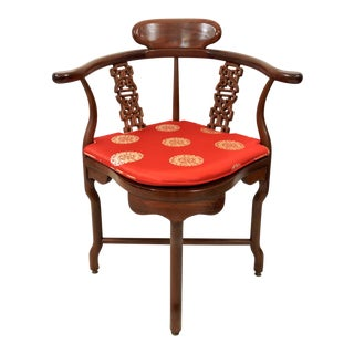 Vintage Chinese Solid Rosewood Corner Side Chair With Red Brocade Cushion For Sale