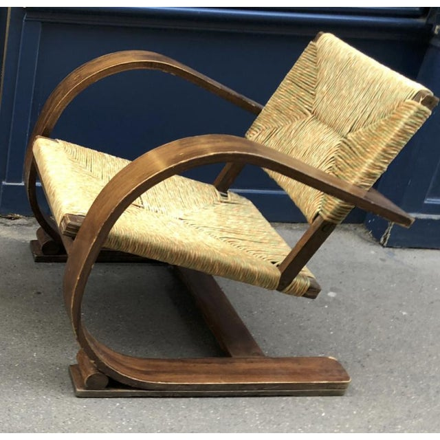 1950s Audoux Minet Pair of Bent Wood Lounge Chair With a Rare Rush Cover For Sale - Image 5 of 7