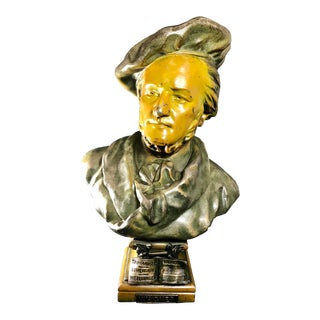 Early 20th Century Bronzed and Patinated Large Figural Bust of Classical Composer Richard Wagner For Sale