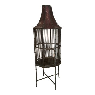 1950s Pagoda Style Standing Birdcage For Sale
