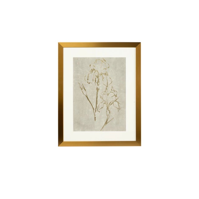 Chelsea House Inc Framed Gold Foil Serigraph Watercolor Artwork For Sale - Image 4 of 4