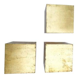 Vintage Italian Gold Leaf Square Block Shelves For Sale