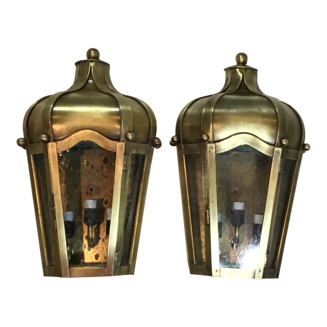 Hand Crafted Wall Mounted Brass Lanterns - A Pair For Sale