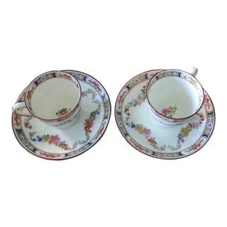 1970s Vintage Minton English Demitasse Cups and Saucers - 4 Pieces For Sale