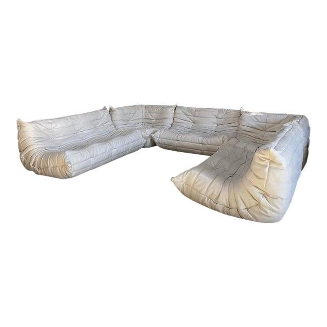 Vintage White Ligne Roset Togo Sofa Set Designed by Michel Ducaroy For Sale