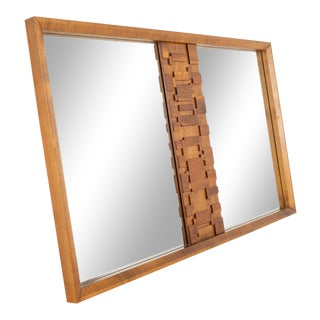 Paul Evans Style Lane Brutalist Mid Century Walnut Mirror For Sale
