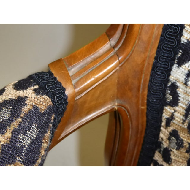 Lovely Pair of Louis XV Style Fauteuils or Chauffeuses by Saridis in Leopard Chenille, 1960s For Sale - Image 11 of 13
