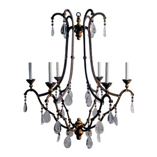Dennis & Leen Bronze Patinated Designer Crystal Chandelier