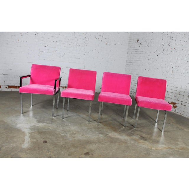 Mid-Century Modern Vintage American of Martinsville Mid Century Modern Hot Pink & Chrome Dining Chairs - Set of 4 For Sale - Image 3 of 11