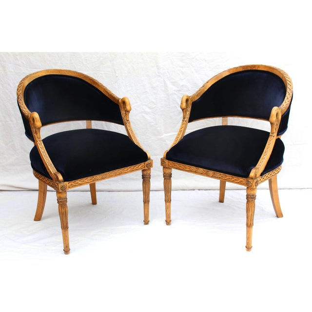 Ink Blue Meyer Gunther Martini French Empire Chairs Rope & Swan Details Newly Upholstered - Pair For Sale - Image 8 of 9