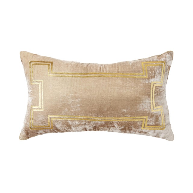 Aria Taupe Velvet Lumbar Pillow With Gold Foil Accents For Sale