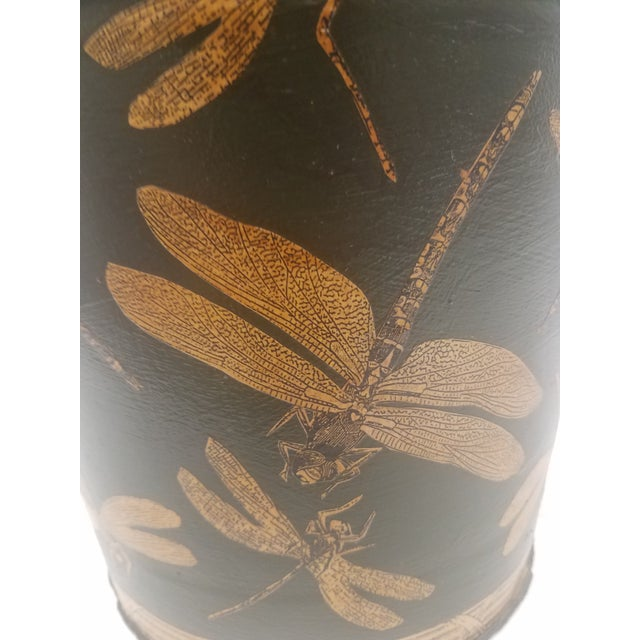 Metal English Antique Dark Green Bucket / Pail With Decoupage Dragonflies - Found in Southern England For Sale - Image 7 of 9